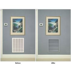 Premier Wood Air Return Grille - Registers - Hardware This picture shows exactly why I don't want the standard white vents! Home Renovation, Home Remodeling, Air Return Vent Cover, Wall Vent Covers, Home Hardware, Diy Home Improvement, Cool Rooms, Creative Home, Home Projects