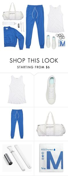 """Inspiring Blue #Sweatpants"" by shoelover220 ❤ liked on Polyvore featuring adidas Originals, ID.AZ, Monki and sweatpants"