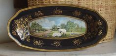 Black Tole Toleware Bread Tray Hand Painted Pastoral Landscape Sheep | eBay