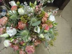 Pink roses and thistles