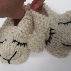 These Lamb Shoes are a twist on the bunny slipper. Knit in one piece and seamed together, they have an embroidered lamb face and an extra layer of cushioning for the sole.The sample was knit in Juniper Moon Farm Yearling. A substitute yarn is shown below.
