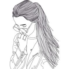 Girl Drawings ❤ liked on Polyvore featuring fillers, outline, doodle and scribble