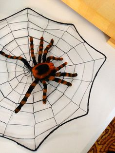 Who needs spiders to make webs for you? Make your own spider webs and use as decorations or as placemats! I simply used black wire and black string. Drop a few on a table with creepy critters. Nice touch don't you think?  #Halloween #DIY