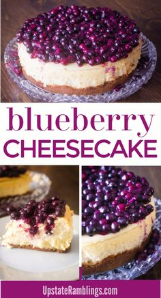 Make this delicious dessert! New York style cheesecake topped with fresh blueberries. This classic cheesecake recipe is perfect for the holidays or Thanksgiving. Berries make cheesecake even yummier!