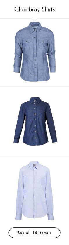 """Chambray Shirts"" by crblackflag ❤ liked on Polyvore featuring chambrayshirts, tops, blue long sleeve shirt, boxy shirt, carve designs, boxy top, long sleeve shirts, button, shirts ve navy"