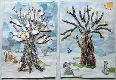 twisted paper winter trees with torn paper collage background. Christmas Art For Kids, Winter Crafts For Kids, Winter Kids, Christmas Crafts, New Year's Crafts, Arts And Crafts, Winter Art Projects, Theme Noel, Art Lessons Elementary