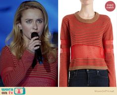 Juliette's red striped crop sweater with mesh inserts on Nashville. Outfit details: http://wornontv.net/14477/