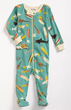 this hatley fitted footie is sure to make your baby dream of surfing and ukuleles.