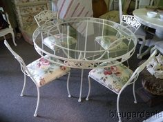 Vintage Wrought Iron Patio Table & Chairs ~   currently painted bronze.