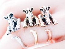 SILVER Zebra adjustable ring,animal ring,adjustabl