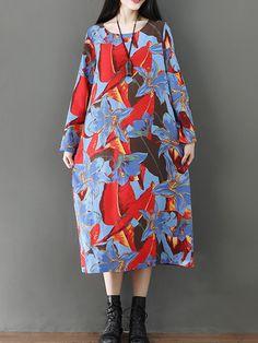 2f0387268ac US 32.99 - Floral Leaves Print Vintage Dresses