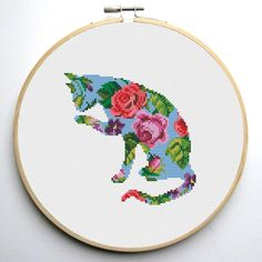 Floral Cat cross stitch pattern - set of 4 pattern | Craftsy