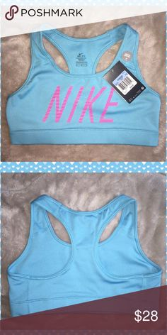NEW Nike Victory Compression Sports Bra    M ✨New with Tags✨ Nike Women's Victory compression sports bra  Size      Medium  Color    Omega Blue Hyper Pink  PRODUCT FEATURES * Perfect for medium-impact exercise * Dri-FIT  * Double-layer construction * Compression fit * Wide elastic underbust band * Bra strap stabilizers provide bounce control * Racerback * Scoopneck Nike Intimates & Sleepwear Bras