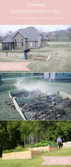 An idea how to build a tiered landscaping design for your garden on a slope or hill with an embedded sprinkler system for easy watering!