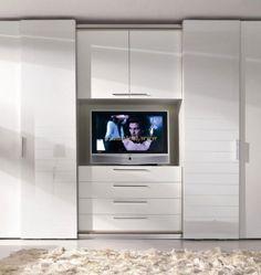 Modern rail cabinet - Home And Decor Built In Bedroom Cabinets, Bedroom Wall Units, Bedroom Built Ins, Bedroom Cupboard Designs, Tv In Bedroom, Closet Bedroom, Bedroom Storage, Wardrobe Wall, Wardrobe Door Designs