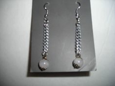 Chain with white milky beads dangling earrings