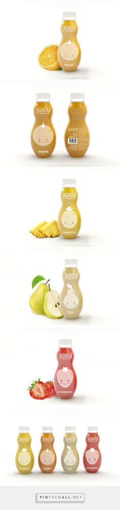 Jüicy. Organic juices for kids on Behance curated by Packaging Diva PD.  Cute fruit juice packaging for children : )