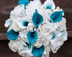 Royal blue and silver silk wedding bridal bouquet