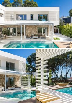 Contrasting Materials Were Used On The Exterior Of This Contemporary House In Spain - This modern house has a pergola that provides some shade from the sun while lounging outside beside - Best Modern House Design, Modern Villa Design, Modern Exterior House Designs, House Exteriors, Pergola Designs, Pergola Kits, Diy Pergola, Pergola Ideas, Pergola Screens