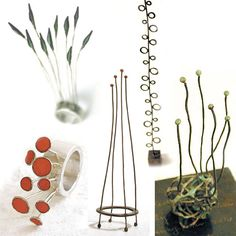 upper left : Dangling Pod Ring #1 - 2004 -Silver, copper, iwaenogu (japanese paint), epoxy resin  bottom left : Red Bud Ring 2003 - Silver, enamel  bottom right : Object: Green Moss 2001 -copper, enamel  upper right : Object: Bubble Tree 2003 - silver, copper