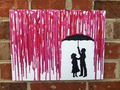 Melted Umbrella Crayon Art with Children's Silhouette. $35.00, via Etsy.