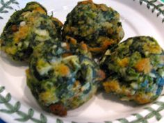 Spinach Balls: 2 boxed frozen chopped spinach 1 box Stove Top stuffing mix-chicken flavor 4-5 eggs 1 onion, finely chopped 1 to 1-1/2 sticks butter, melted 3/4-1 C grated Parmesan cheese 1 t thyme 1 t garlic powder 1 tsp each pepper & salt