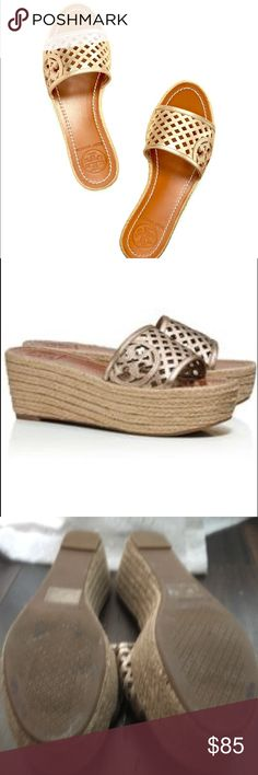 """Tory Burch Platform Wedge Espadrille Sandals Tory Burch Platform Wedge Thatched Perforated - Trendy, great for running around in the city, happy hours or errands. These are stylish yet comfortable due the wedge. These were only worn a couple of times. Great pre-loved, well taken care of condition.   Open toe; slip on; perforations and logo cutout at strap 2.5"""" heel, 1.75"""" platform, feels like 0.75"""" heel - Great Price!    ☑️NO TRADES☑️PRICE FIRM☑️PLEASE SHARE IF YOU ♥️♥️♥️! Please check out…"""