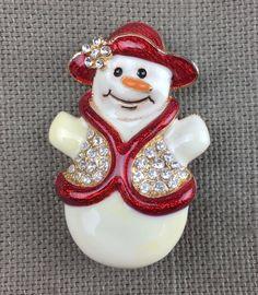Eisenberg Ice Signed Snowman Enamel Clear Rhinestones Christmas Pin Brooch VTG   | eBay