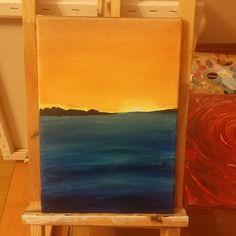 lake  sunset lake sun holiday romantic painting begginer