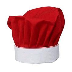 Cappello Cuoco Rosso Natale, tessuto in gabardine misto, cotone rosso indanthren, con balza bianca profilata e doppio profilo rosso/bianco.