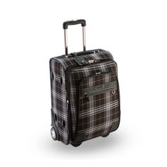 Genuine Pierre Cardin Tartan CHECK Luggage Carry-On Travel Bag / 21 inch Black
