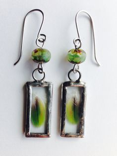 Forest Budding Green Feathers Earrings by MermaidenCreations