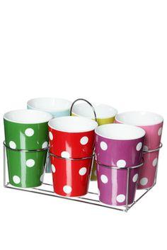 Set 6 Mugs à Pois Present Time pour Elle