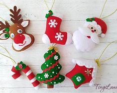 Diy christmas ornaments 842595411521494612 - Set Christmas Ornaments Felt decorations Christmas Tree Ornaments Gift for Christmas Santa Claus Reindeer Candy Cane Stocking Source by Annybouquetofcraftodeas Christmas Favors, Handmade Christmas Decorations, Christmas Ornament Crafts, Felt Decorations, Etsy Christmas, Best Christmas Gifts, Felt Ornaments, Holiday Ornaments, Christmas Planning