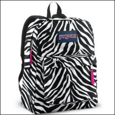 Sports Bags   Backpacks - Rebel Sport - Jansport Superbreak Backpack  Blk Wht Fluro Pnk Miss Zebra 25 88cb53c22352e