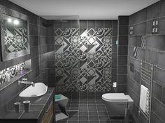 Όψη του μπάνιου από την είσοδο. Η ντουζιέρα οριοθετήθηκε από τον υπόλοιπο χώρο με διαχωριστικό κρύσταλλο ασφαλείας με πάχος 8 mm. Ιδιαιτερότητα της κατασκευής το ότι το κρύσταλλο εγκαταστάθηκε εως την οροφή του μπάνιου. Origami, Toilet, Bathroom, Washroom, Flush Toilet, Full Bath, Origami Paper, Toilets, Bath