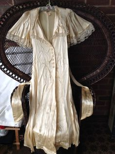 Vintage 1970s Biba Gold Satin Negligee / Dressing Gown Size 10 Art Deco style
