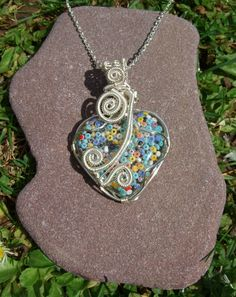 Heart pendant, resin art necklace, wire wrapped resin heart pendant on chain, one of a kind pendant, bead art pendant, resin heart necklace. by JanicesJewelsUK on Etsy
