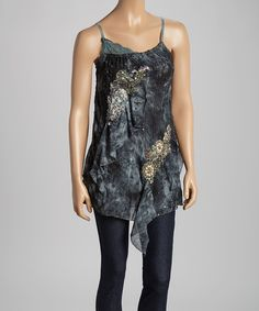 Another great find on #zulily! Gray & Black Floral Silk-Blend Tank by Pretty Angel #zulilyfinds