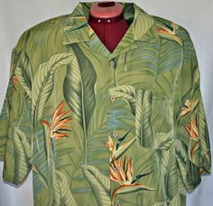 Maui Maui Hawaiian Shirt Extra Large Men Green Floral Button Front XL Hawaii  #MauiMaui #Hawaiianshirt #Hawaii