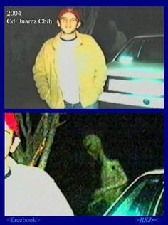 Ghost or Alien? While the figure behind the car appears to be ghost, if the image is enlarged the figure appears to be an alien. Aliens And Ufos, Ancient Aliens, Paranormal, Ghost Pictures, Alien Pictures, Ghost Pics, Ghost Caught On Camera, The Babadook, Unexplained Mysteries