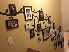 Maybe would let me do this down the stairs home ideas family tree wall photo decor Family Tree Photo, Photo Tree, Family Photos, Family Trees, Picture Tree, Family Portraits, Stair Walls, Photo Deco, Family Wall