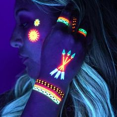 UV neon Temporary Tattoos: Blacklight Glow in the Dark great for Rave Festival Clubbing - tribal Uv Tattoo, Dark Tattoo, Neon Tattoo, Temporary Tattoo, Fake Tattoos, Unique Tattoos, Pintura Facial Neon, Tatuagem Uv, Tinta Neon