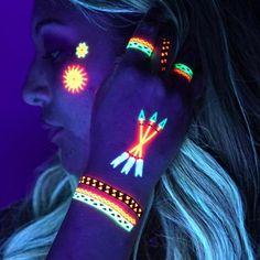 UV neon Temporary Tattoos: Blacklight Glow in the Dark great for Rave Festival Clubbing - tribal Neon Tattoo, Uv Tattoo, Dark Tattoo, Color Tattoo, Temporary Tattoo, Fake Tattoos, Unique Tattoos, Pintura Facial Neon, Tatuagem Uv