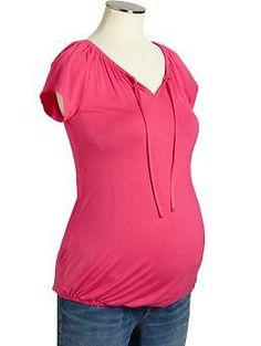 Maternity Short-Sleeved Boho Tops
