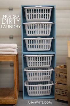 Laundry Room Ideas: These stackable Laundry Basket Dressers will help keep your laundry room organized and tidy. It's so easy to pull laundry out, fold it and put it in the baskets. Then you can take each basket to it's respective room and put it away.