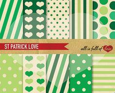St Patrick's Day Digital Paper Pack ST PATRICK by AllFullOfLove, $3.50