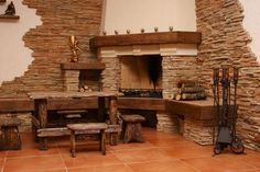 Modern fireplace decorating with artificial stone veneer