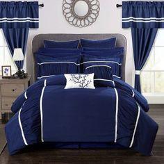 Auburn 24-Piece Bed In a Bag Queen Comforter Set by Chic Home Navy - CS3146-HE