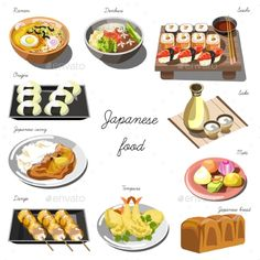 Japanese Cuisine Set. Collection of Food Dishes
